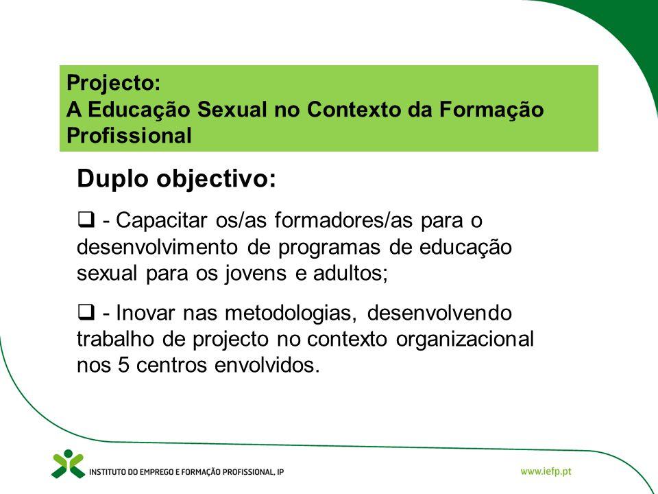 Projecto: A Educação Sexual no Contexto da Formação Profissional Duplo objectivo: - Capacitar os/as formadores/as para o desenvolvimento de programas de educação sexual para os jovens e adultos; - Inovar nas metodologias, desenvolvendo trabalho de projecto no contexto organizacional nos 5 centros envolvidos.