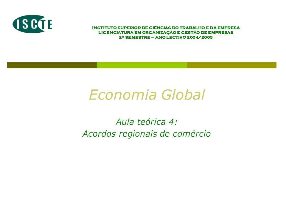 Economia Global Ano lectivo 2004/2005 – 2º semestre Os acordos regionais de comércio (RIA) – Introdução ao tema da integração económica Definição e tipologia de acordos regionais de comércio As motivações de natureza económica dos acordos regionais de comércio As motivações de natureza não económica dos acordos regionais de comércio Regionalismo vs.