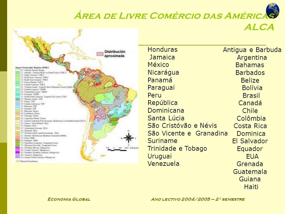 Economia Global Ano lectivo 2004/2005 – 2º semestre Área de Livre Comércio das Américas ALCA Antigua e Barbuda Argentina Bahamas Barbados Belize Bolív