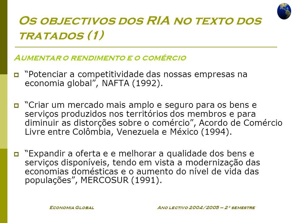 Economia Global Ano lectivo 2004/2005 – 2º semestre Os objectivos dos RIA no texto dos tratados (1) Aumentar o rendimento e o comércio Potenciar a com