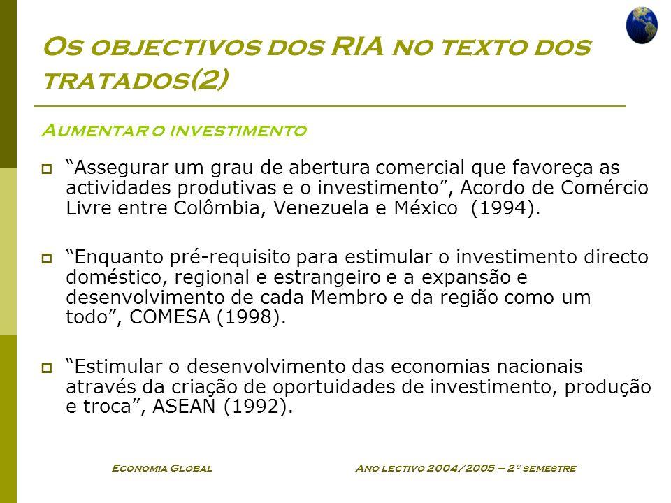 Economia Global Ano lectivo 2004/2005 – 2º semestre Os objectivos dos RIA no texto dos tratados(2) Aumentar o investimento Assegurar um grau de abertu