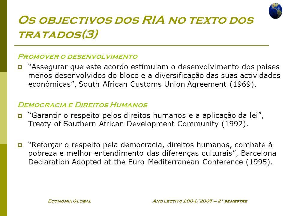Economia Global Ano lectivo 2004/2005 – 2º semestre Os objectivos dos RIA no texto dos tratados(3) Promover o desenvolvimento Assegurar que este acord