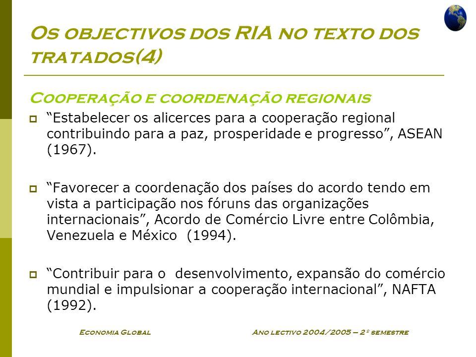 Economia Global Ano lectivo 2004/2005 – 2º semestre Os objectivos dos RIA no texto dos tratados(4) Cooperação e coordenação regionais Estabelecer os a