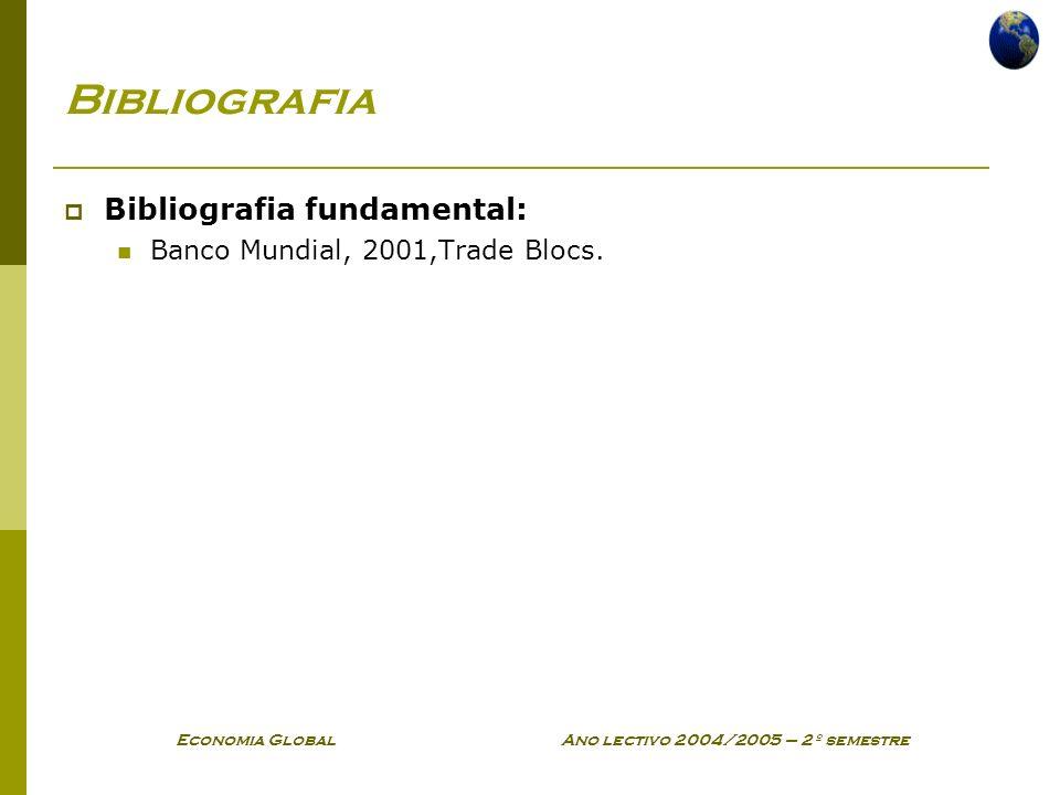 Economia Global Ano lectivo 2004/2005 – 2º semestre Bibliografia Bibliografia fundamental: Banco Mundial, 2001,Trade Blocs.