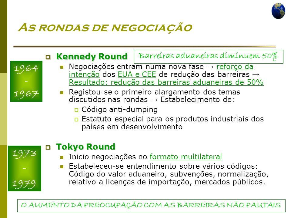 Economia Global Ano lectivo 2004/2005 – 2º semestre As rondas de negociação Kennedy Round Kennedy Round Negociações entram numa nova fase reforço da i