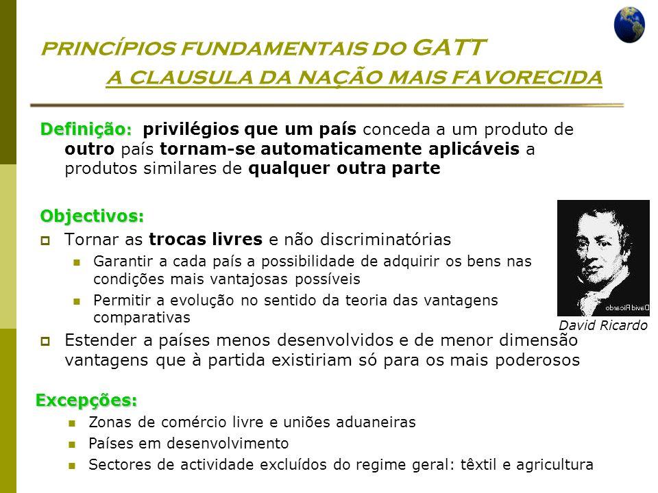 Economia Global Ano lectivo 2004/2005 – 2º semestre princípios fundamentais do GATT a clausula da nação mais favorecida Definição : Definição : privil