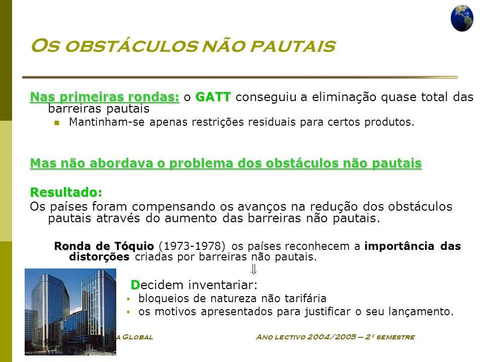 Economia Global Ano lectivo 2004/2005 – 2º semestre Os obstáculos não pautais Nas primeiras rondas:GATT Nas primeiras rondas: o GATT conseguiu a elimi