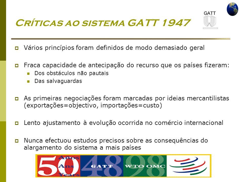 Economia Global Ano lectivo 2004/2005 – 2º semestre Críticas ao sistema GATT 1947 Vários princípios foram definidos de modo demasiado geral Fraca capa