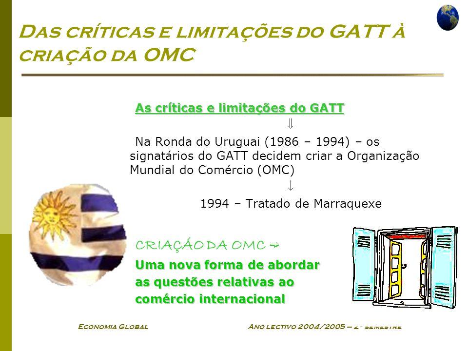 Economia Global Ano lectivo 2004/2005 – 2º semestre Das críticas e limitações do GATT à criação da OMC As críticas e limitações do GATT Na Ronda do Ur