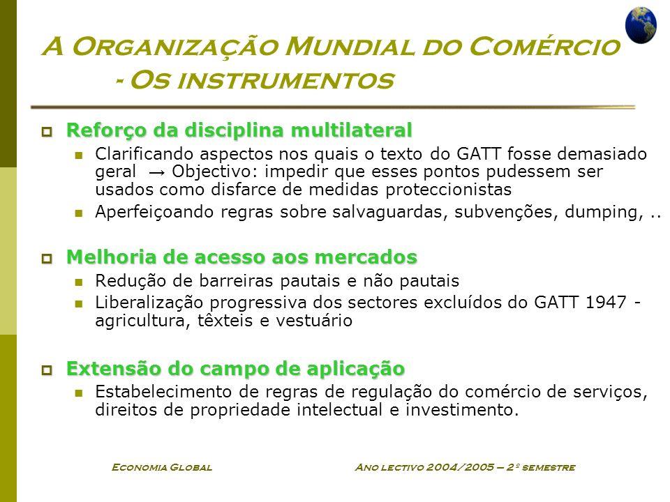 Economia Global Ano lectivo 2004/2005 – 2º semestre A Organização Mundial do Comércio - Os instrumentos Reforço da disciplina multilateral Reforço da