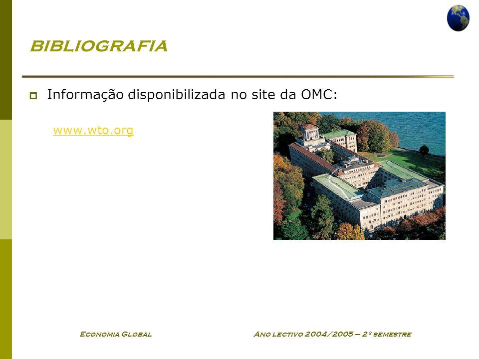 Economia Global Ano lectivo 2004/2005 – 2º semestre bibliografia Informação disponibilizada no site da OMC: www.wto.org