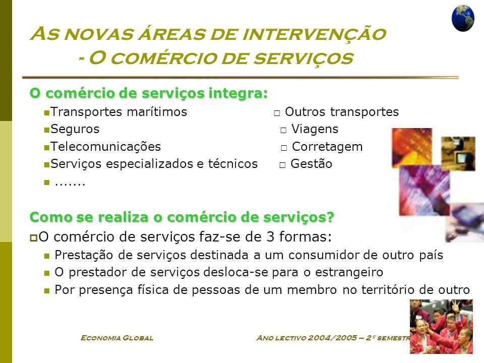 Economia Global Ano lectivo 2004/2005 – 2º semestre As novas áreas de intervenção - O comércio de serviços O comércio de serviços integra: Transportes