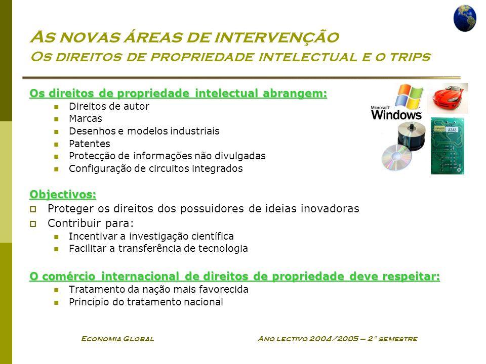 Economia Global Ano lectivo 2004/2005 – 2º semestre As novas áreas de intervenção Os direitos de propriedade intelectual e o trips Os direitos de prop