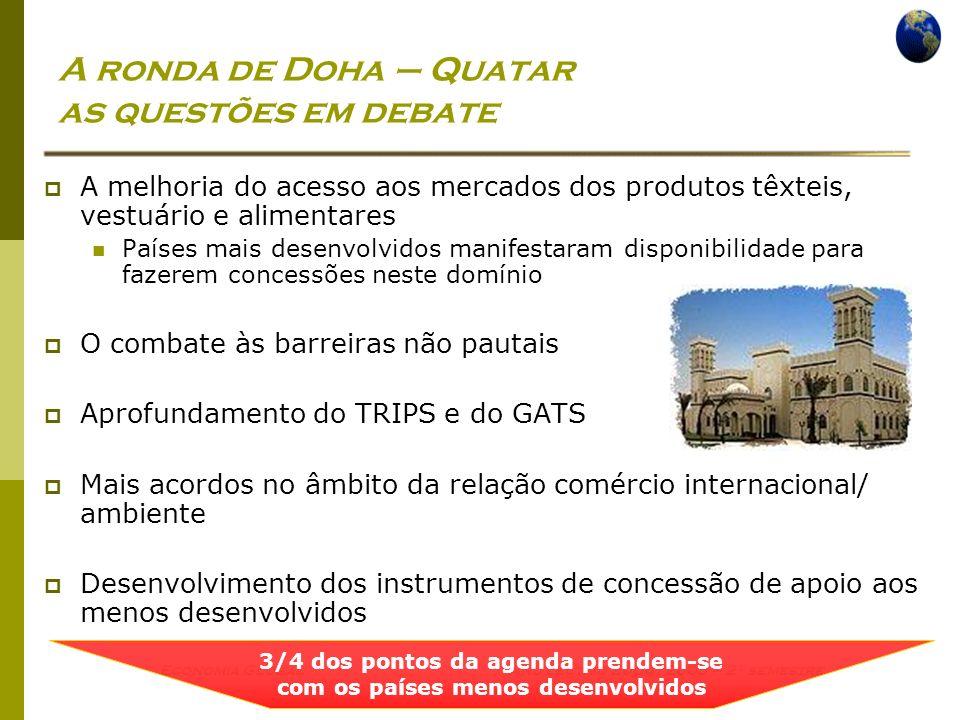Economia Global Ano lectivo 2004/2005 – 2º semestre A ronda de Doha – Quatar as questões em debate A melhoria do acesso aos mercados dos produtos têxt
