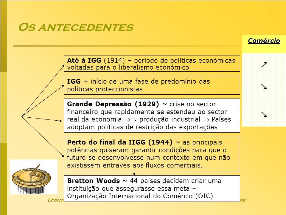 Economia Global Ano lectivo 2004/2005 – 2º semestre Os antecedentes Até à IGG (1914) – período de políticas económicas voltadas para o liberalismo eco
