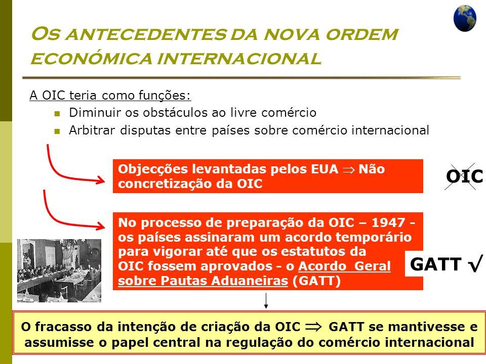 Economia Global Ano lectivo 2004/2005 – 2º semestre Os antecedentes da nova ordem económica internacional A OIC teria como funções: Diminuir os obstác