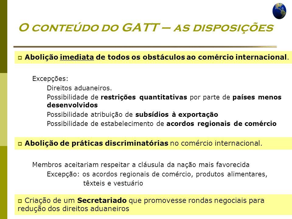 Economia Global Ano lectivo 2004/2005 – 2º semestre O conteúdo do GATT – as disposições Abolição imediata de todos os obstáculos ao comércio internaci