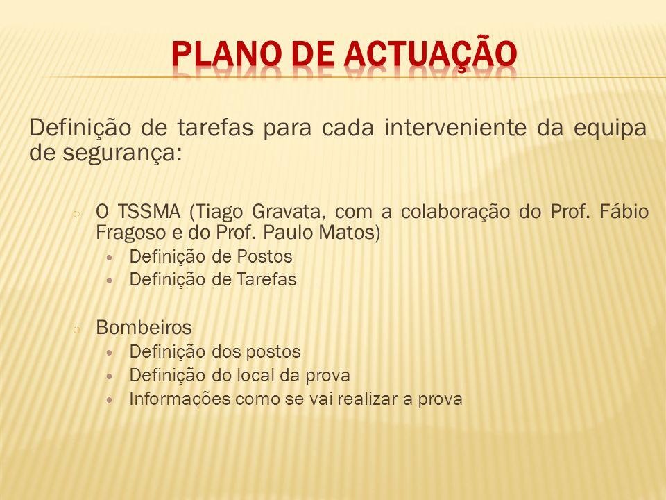 Definição de tarefas para cada interveniente da equipa de segurança: O TSSMA (Tiago Gravata, com a colaboração do Prof. Fábio Fragoso e do Prof. Paulo