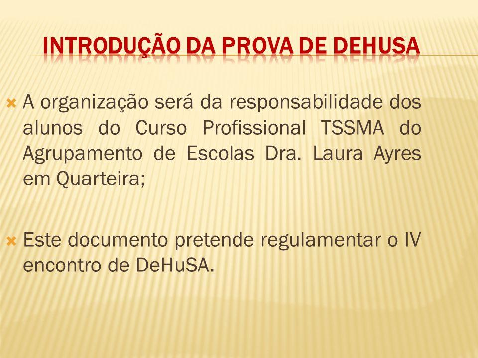 A organização será da responsabilidade dos alunos do Curso Profissional TSSMA do Agrupamento de Escolas Dra. Laura Ayres em Quarteira; Este documento