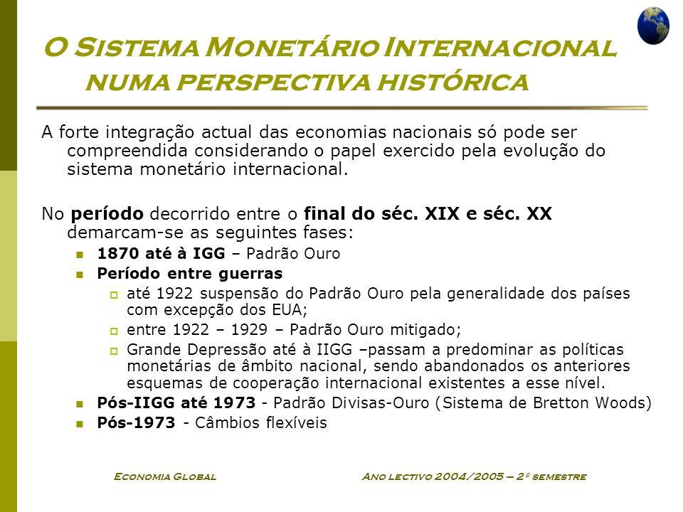 Economia Global Ano lectivo 2004/2005 – 2º semestre O Sistema Monetário Internacional numa perspectiva histórica A forte integração actual das economi