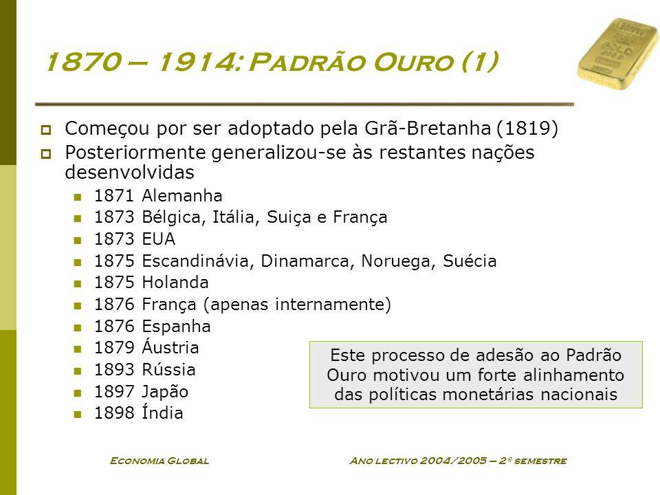 Economia Global Ano lectivo 2004/2005 – 2º semestre 1870 – 1914: Padrão Ouro (1) Começou por ser adoptado pela Grã-Bretanha (1819) Posteriormente gene