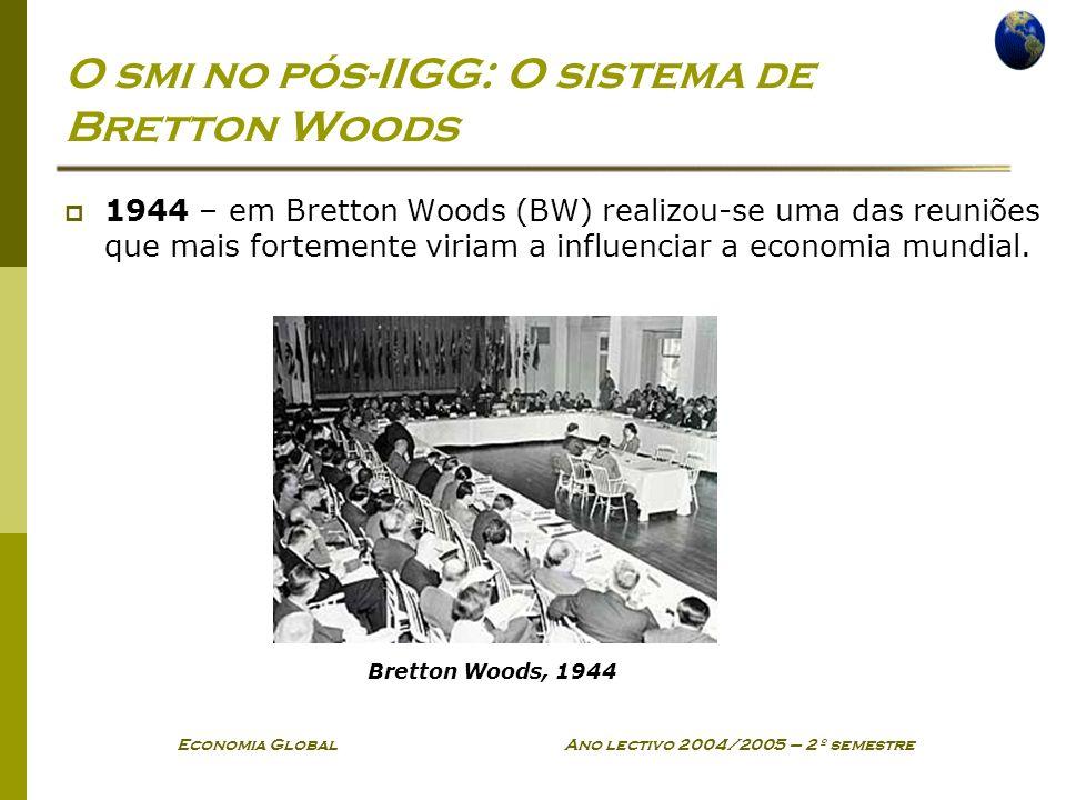 Economia Global Ano lectivo 2004/2005 – 2º semestre O smi no pós-IIGG: O sistema de Bretton Woods 1944 – em Bretton Woods (BW) realizou-se uma das reu