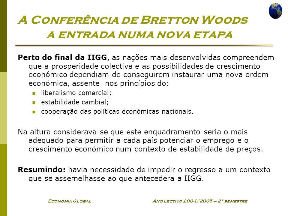 Economia Global Ano lectivo 2004/2005 – 2º semestre A Conferência de Bretton Woods a entrada numa nova etapa Perto do final da IIGG, as nações mais de
