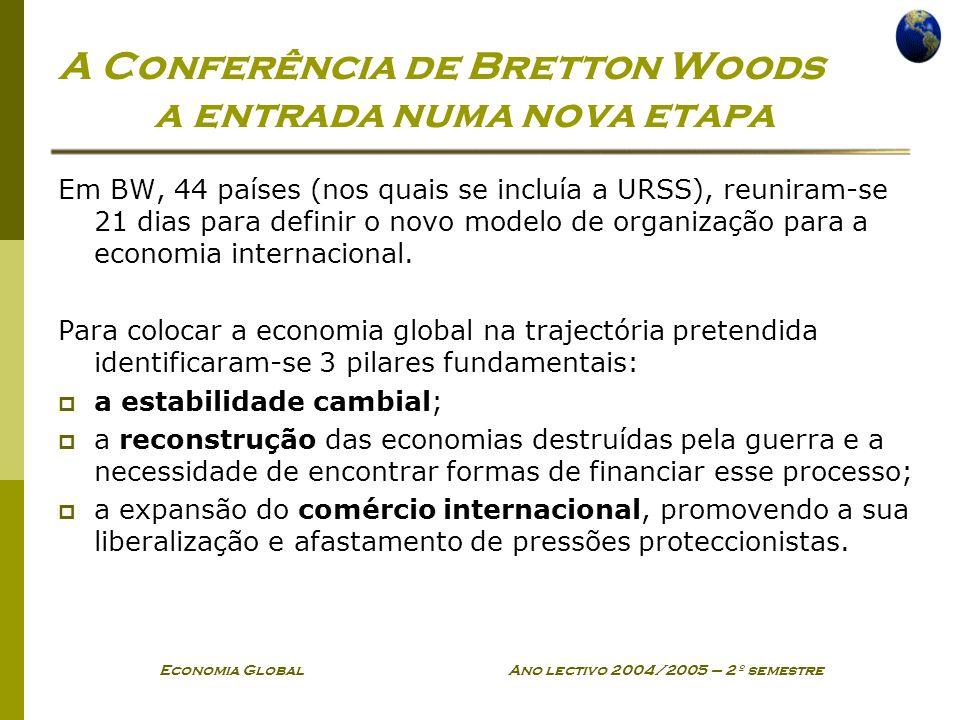 Economia Global Ano lectivo 2004/2005 – 2º semestre A Conferência de Bretton Woods a entrada numa nova etapa Em BW, 44 países (nos quais se incluía a