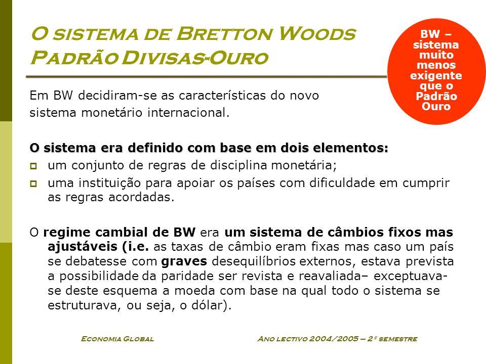 Economia Global Ano lectivo 2004/2005 – 2º semestre O sistema de Bretton Woods Padrão Divisas-Ouro Em BW decidiram-se as características do novo siste
