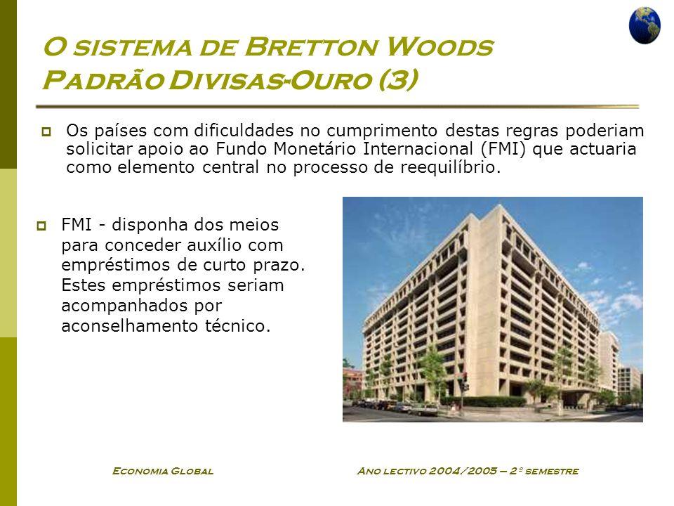 Economia Global Ano lectivo 2004/2005 – 2º semestre O sistema de Bretton Woods Padrão Divisas-Ouro (3) Os países com dificuldades no cumprimento desta