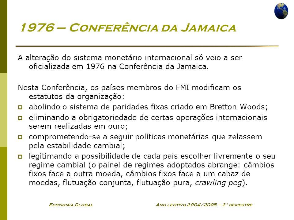 Economia Global Ano lectivo 2004/2005 – 2º semestre 1976 – Conferência da Jamaica A alteração do sistema monetário internacional só veio a ser oficial