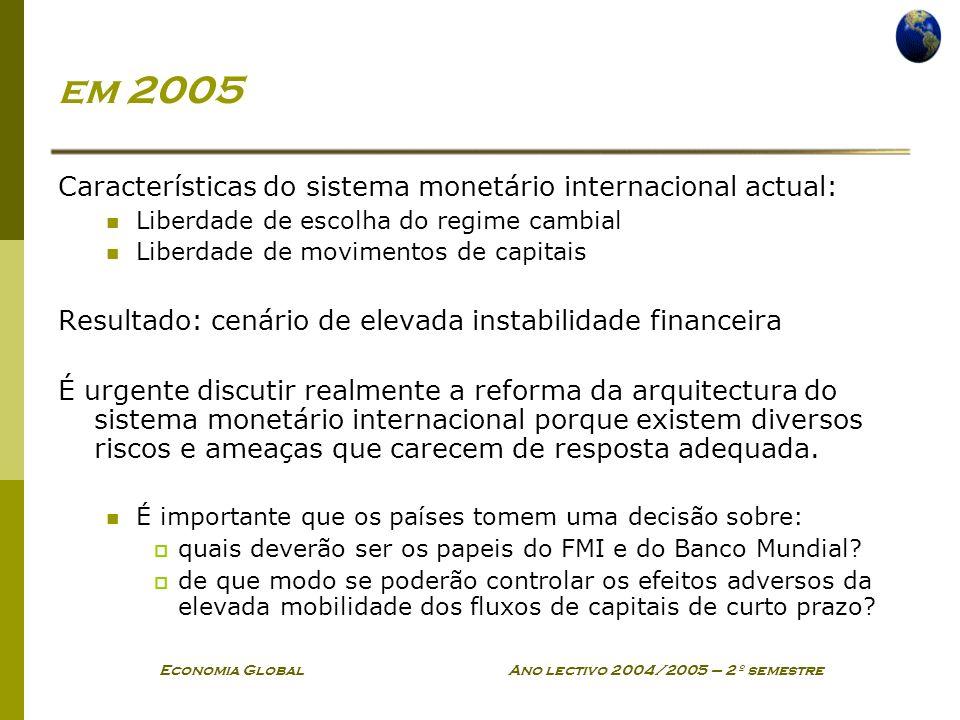 Economia Global Ano lectivo 2004/2005 – 2º semestre em 2005 Características do sistema monetário internacional actual: Liberdade de escolha do regime