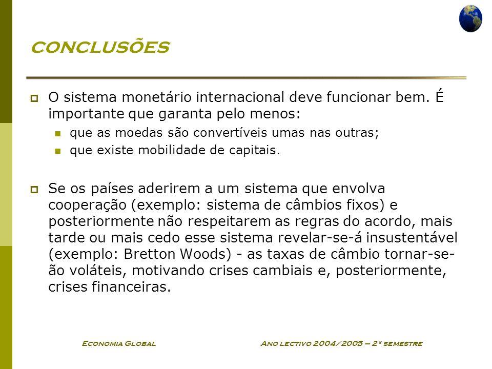 Economia Global Ano lectivo 2004/2005 – 2º semestre conclusões O sistema monetário internacional deve funcionar bem. É importante que garanta pelo men