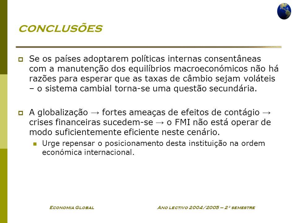 Economia Global Ano lectivo 2004/2005 – 2º semestre conclusões Se os países adoptarem políticas internas consentâneas com a manutenção dos equilíbrios