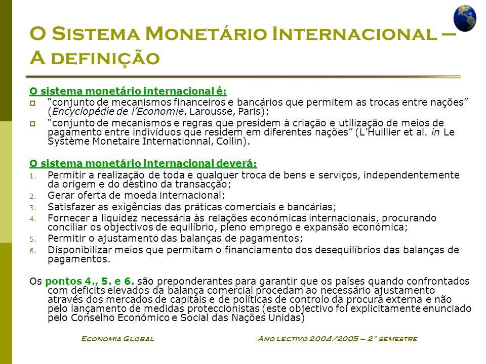 Economia Global Ano lectivo 2004/2005 – 2º semestre O Sistema Monetário Internacional – A definição O sistema monetário internacional é: conjunto de m