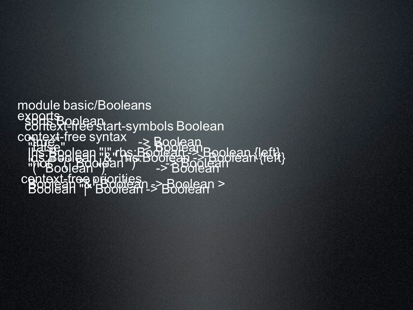 module basic/Booleans exports sorts Boolean context-free start-symbols Boolean context-free syntax true -> Boolean false -> Boolean lhs:Boolean | rhs:Boolean -> Boolean {left} lhs:Boolean & rhs:Boolean -> Boolean {left} not ( Boolean ) -> Boolean ( Boolean ) -> Boolean context-free priorities Boolean & Boolean -> Boolean > Boolean | Boolean -> Boolean
