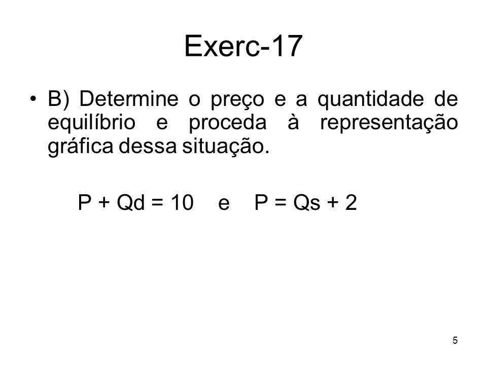 6 Exerc-17 Para determinarmos o equilíbrio, temos que explicitar as funções em ordem às quantidades (ou aos preços) Qd = 10 – P e Qs = –2+ P E fazer Qd = Qs 10 – P = –2+ P P = 6 u.m.