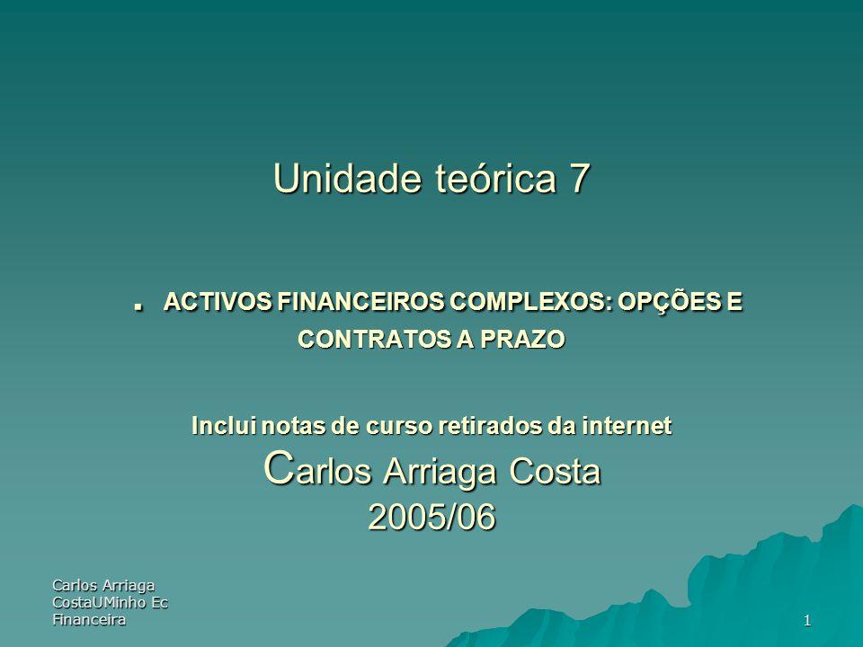 Carlos Arriaga CostaUMinho Ec Financeira 1 Unidade teórica 7. ACTIVOS FINANCEIROS COMPLEXOS: OPÇÕES E CONTRATOS A PRAZO Inclui notas de curso retirado