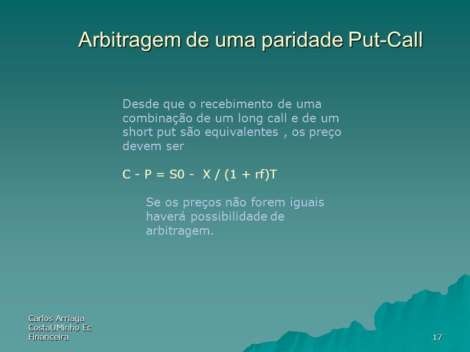 Carlos Arriaga CostaUMinho Ec Financeira17 Arbitragem de uma paridade Put-Call Desde que o recebimento de uma combinação de um long call e de um short