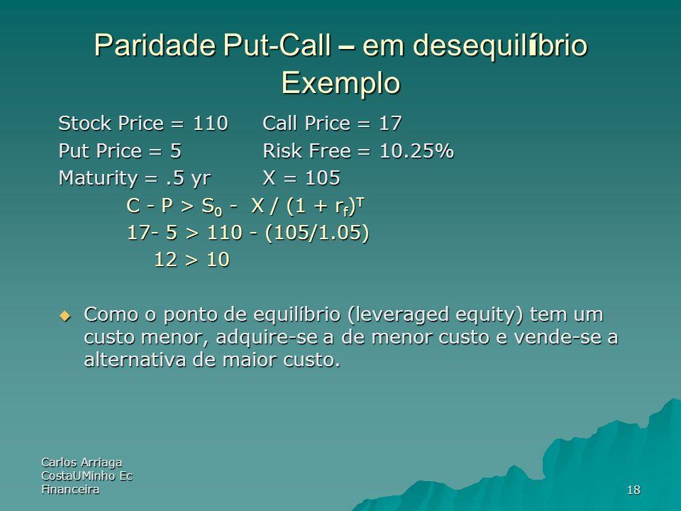Carlos Arriaga CostaUMinho Ec Financeira18 Paridade Put-Call – em desequil í brio Exemplo Stock Price = 110 Call Price = 17 Put Price = 5 Risk Free =