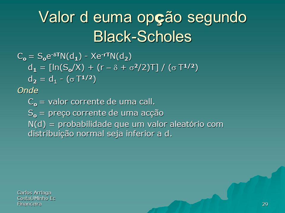 Carlos Arriaga CostaUMinho Ec Financeira29 Valor d euma op ç ão segundo Black-Scholes C o = S o e -T N(d 1 ) - Xe -rT N(d 2 ) d 1 = [ln(S o /X) + (r –