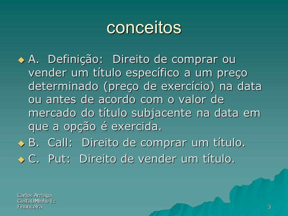 Carlos Arriaga CostaUMinho Ec Financeira3 conceitos A. Definição: Direito de comprar ou vender um título específico a um preço determinado (preço de e