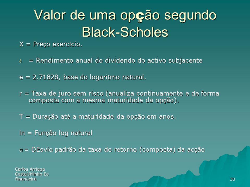 Carlos Arriaga CostaUMinho Ec Financeira30 Valor de uma op ç ão segundo Black-Scholes X = Pre ç o exerc í cio. = Rendimento anual do dividendo do acti