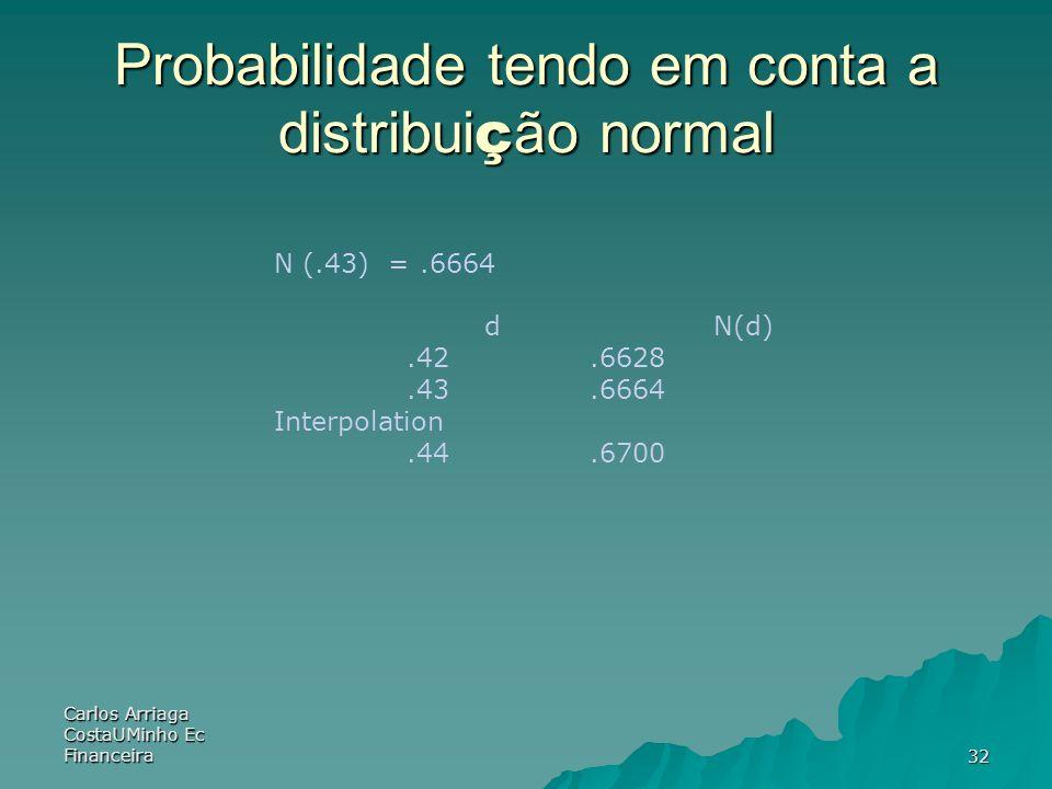 Carlos Arriaga CostaUMinho Ec Financeira32 Probabilidade tendo em conta a distribui ç ão normal N (.43) =.6664 d N(d).42.6628.43.6664 Interpolation.44