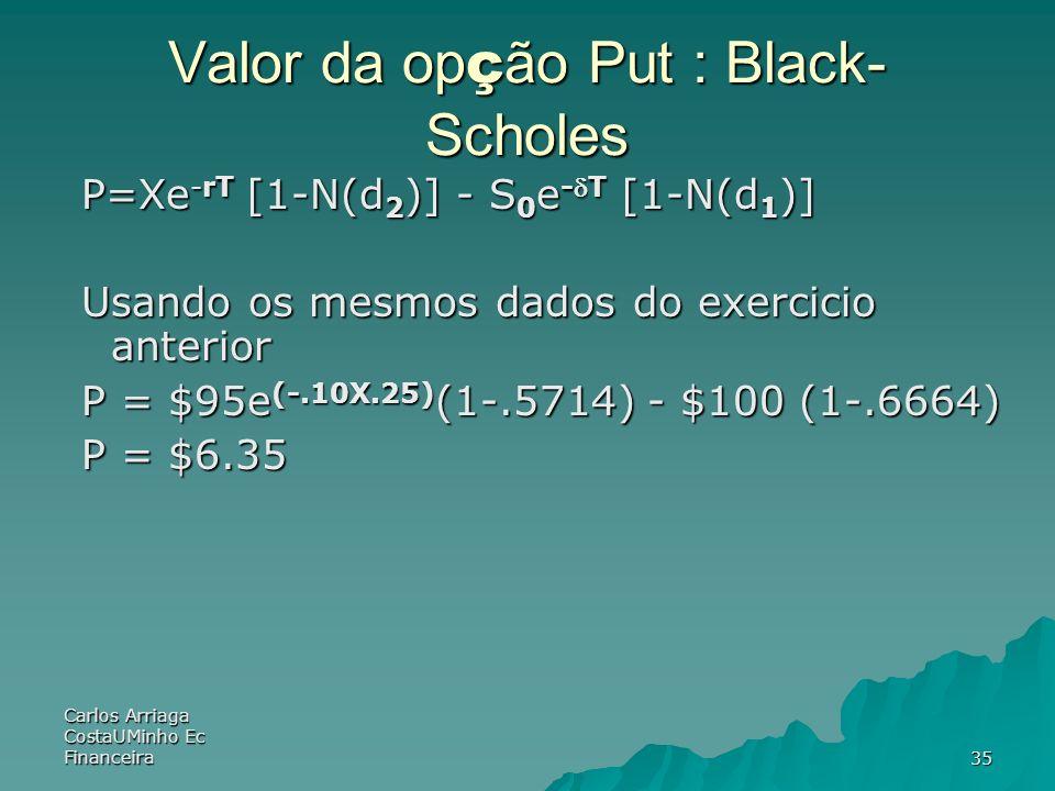 Carlos Arriaga CostaUMinho Ec Financeira35 Valor da op ç ão Put : Black- Scholes P=Xe -rT [1-N(d 2 )] - S 0 e -T [1-N(d 1 )] Usando os mesmos dados do