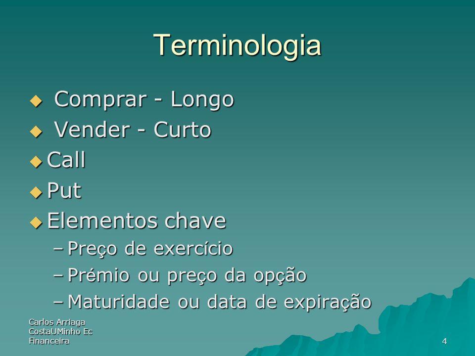 Carlos Arriaga CostaUMinho Ec Financeira4 Terminologia Comprar - Longo Comprar - Longo Vender - Curto Vender - Curto Call Call Put Put Elementos chave