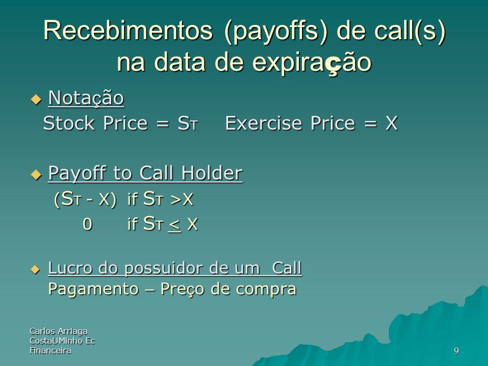Carlos Arriaga CostaUMinho Ec Financeira9 Recebimentos (payoffs) de call(s) na data de expira ç ão Nota ç ão Nota ç ão Stock Price = S T Exercise Pric