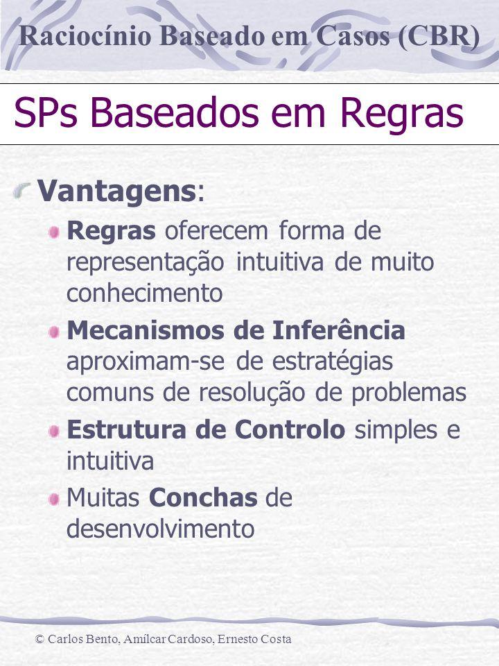 Raciocínio Baseado em Casos (CBR) © Carlos Bento, Amílcar Cardoso, Ernesto Costa SPs Baseados em Regras Vantagens: Regras oferecem forma de representa