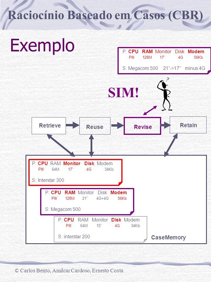 Raciocínio Baseado em Casos (CBR) © Carlos Bento, Amílcar Cardoso, Ernesto Costa Exemplo Retrieve Reuse Revise Retain CaseMemory P: CPU RAM Monitor Disk Modem PIII 64M 17 4G 34Kb S: Interstar 300 P: CPU RAM Monitor Disk Modem PIII 128M 21 4G+4G 56Kb S: Megacom 500 P: CPU RAM Monitor Disk Modem PIII 64M 15 4G 34Kb S: interstar 200 P: CPU RAM Monitor Disk Modem PIII 128M 17 4G 56Kb S: Megacom 500 21->17 minus 4G