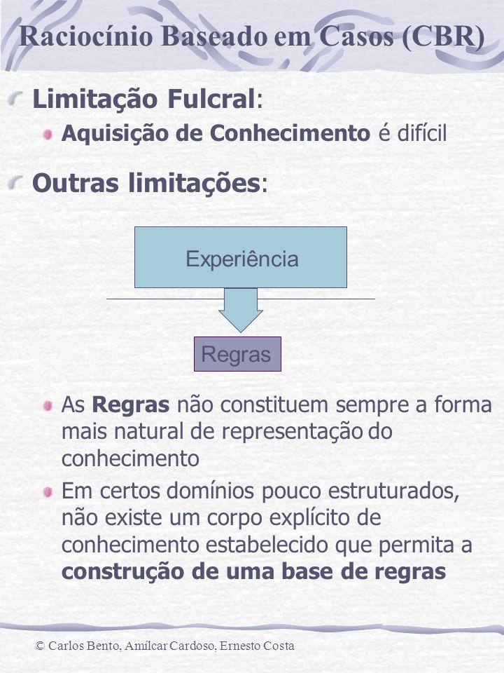 Raciocínio Baseado em Casos (CBR) © Carlos Bento, Amílcar Cardoso, Ernesto Costa Limitação Fulcral: Aquisição de Conhecimento é difícil Outras limitaç